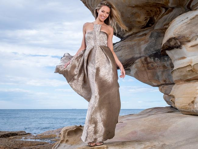 The Myer ambassador in an Alex Perry gown in Coogee. Picture: Jake Nowakowski