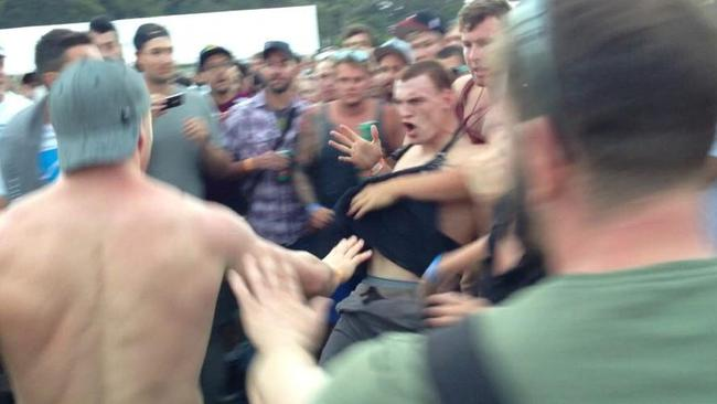 Mitch Robinson in trouble at the Big Day Out, posted on twitter by Matt @Ssv22.