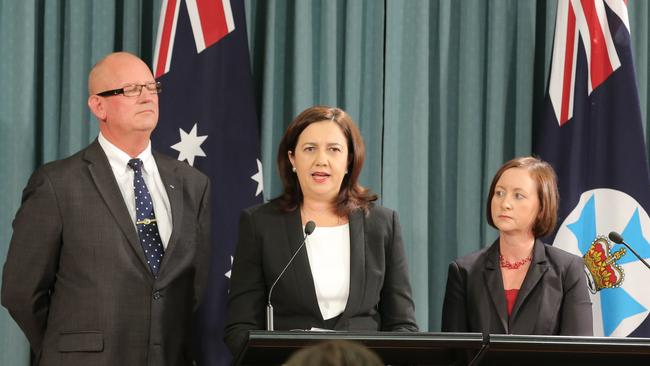 Police Minister Bill Byrne, Premier Annastacia Palaszczuk and Attorney-General Yvette D'Ath announce the repeal of the VLAD laws. Picture: Mark Cranitch