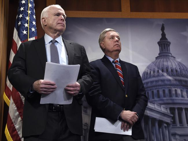 Sen. John McCain, left, and Sen. Lindsey Graham. Picture: AP.
