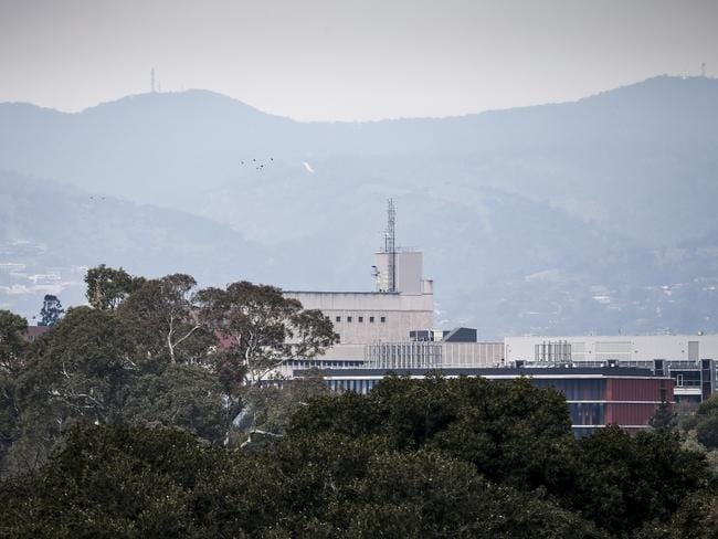 Smoky haze over Adelaide, after wind pushed smoke from a burnoff over the city. Picture: AAP/Mike Burton