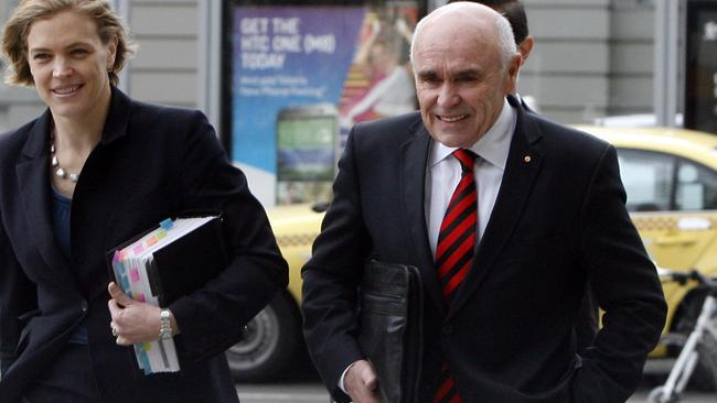 Essendon chairman Paul Little arrives at the Federal Court today. Picture: Richard Serong