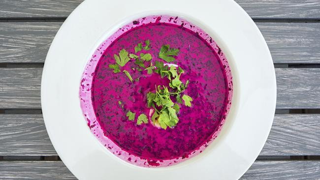 Chlodnik — a cold polish beet soup.