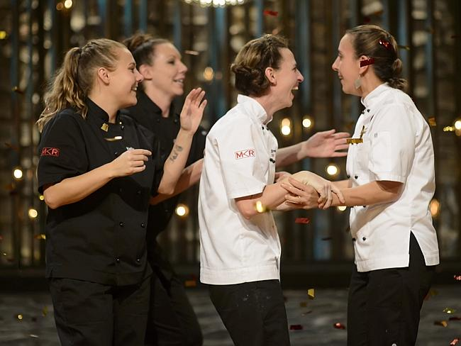 Crowning moment ... Bree May and Jessica Liebich realise they have won My Kitchen Rules over Chloe James and Kelly Ramsay. Picture: Channel 7