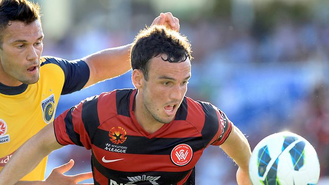 Mark Bridge on the attack for Western Sydney at Parramatta Stadium. Picture: Mark Evans
