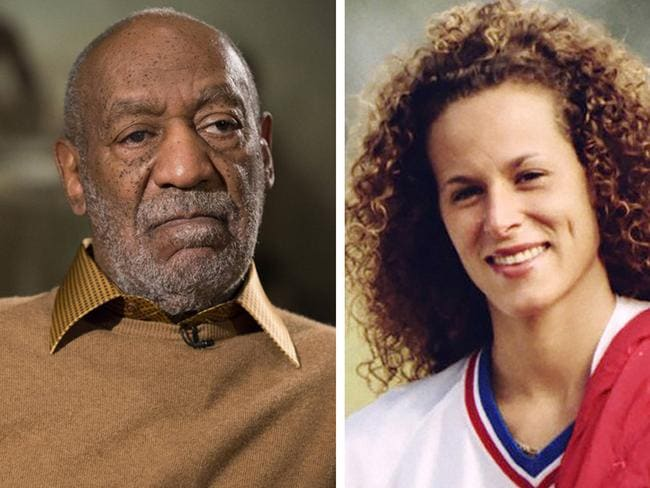 Disgraced entertainer ... Bill Cosby and one of his alleged victims Andrea Constand. Picture: AP Photo/Evan Vucci, left, and Ron Bull/The Toronto Star/The Canadian Press via AP