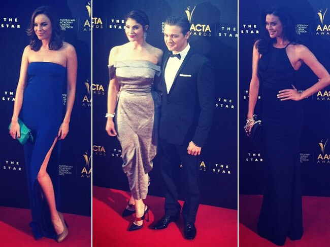 Jessica Macnamee, international guests Gemma Arterton, Jeremy Renner and Megan Gale arrive on the AACTA red carpet. Picture: Supplied
