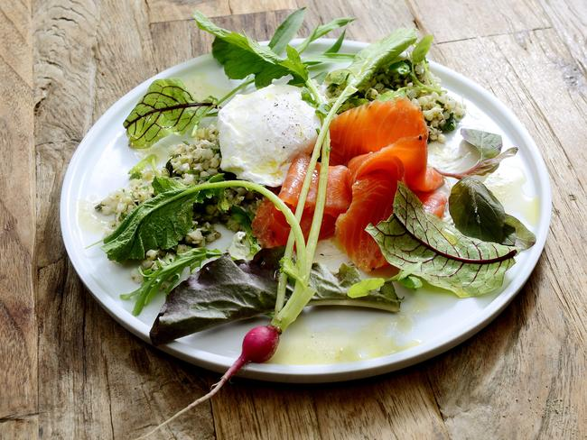 Smoked Ocean Trout with sprouted Buckwheat at Egg of the Universe wholefoods cafe at Rozelle. Picture: John Appleyard