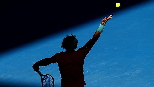 Nadal in action at Melbourne Park. Picture; Getty