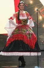 Emília Araújo, Miss Portugal 2015 debuts her National Costume on stage at the 2015 Miss Universe Pagaent on December 16, 2015 in Las Vegas. Picture: HO/The Miss Universe Organization