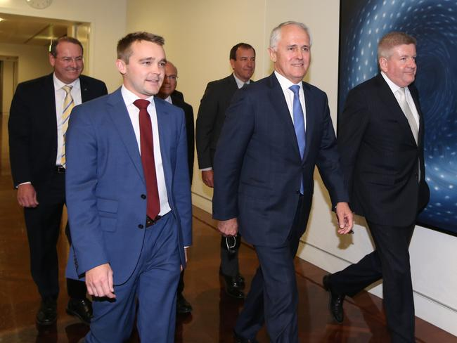 Malcolm Turnbull arrives for the Liberal leadership ballot in Parliament House. Picture: Kym Smith