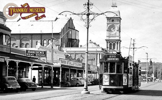An F type tram passes by the Norwood Town Hall on a service bound for the city in 1953. Picture: Tramway Museum