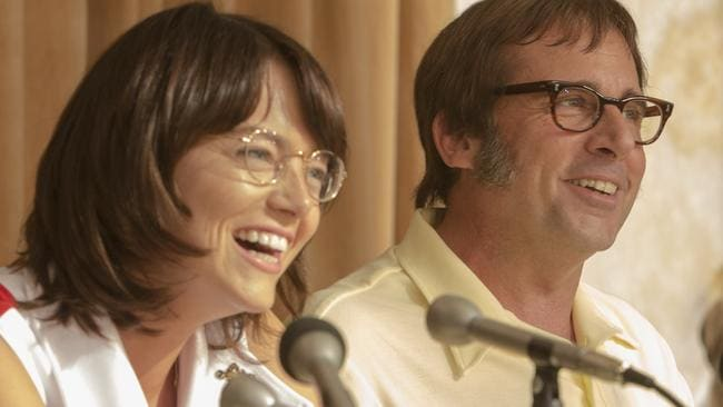 Stone and Steve Carell in a scene from  <i>Battle of the Sexes</i>. Picture: Melinda Sue Gordon / Fox Searchlight Pictures.