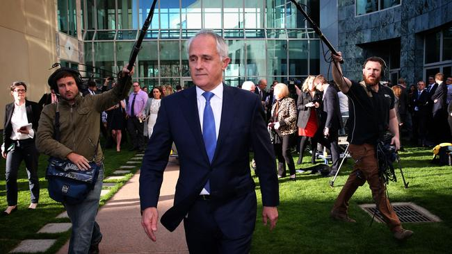 Malcolm Turnbull leaves his press conference where he announced he would contest Tony Abbott's prime ministership.
