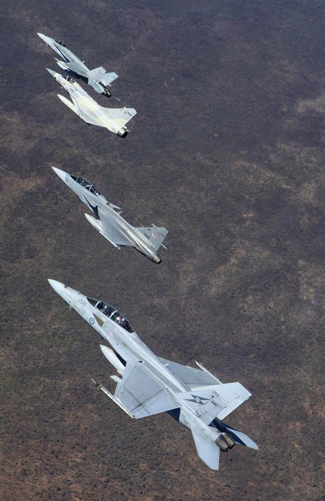 Combined operations ... Air to Air formation with a JAS-39D Gripen from the Royal Thai Air Force, Mirage 2000-9 from the United Arab Emirates Air Force, FA-18F Super Hornet and an F/A-18A Hornet from the Royal Australian Air Force. Source: Defence