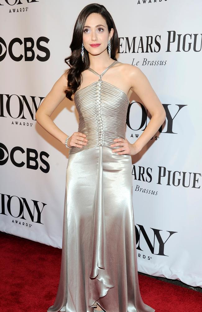 Emmy Rossum dazzled in this floor-length silk dress.