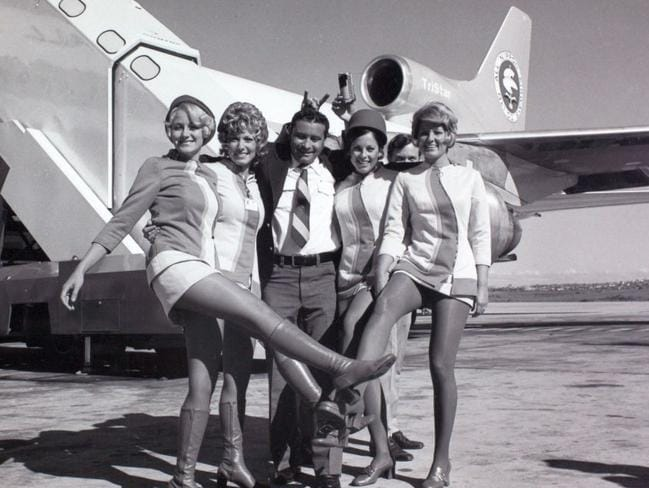 The PSA stewardess uniform was iconic with its short hemline, bold colours and knee-high boots. Photo: San Diego Air & Space Museum