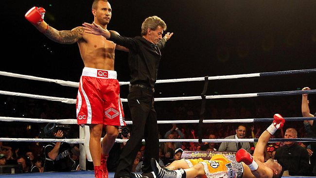Quade Cooper reacts after flooring Barry Dunnett in the first round. Picture: Annette Dew