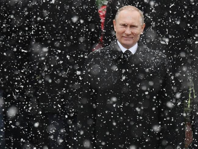 Russian President Vladimir Putin attends a wreath laying ceremony in Moscow on February 23. Picture: Natalia Kolesnikova/AFP