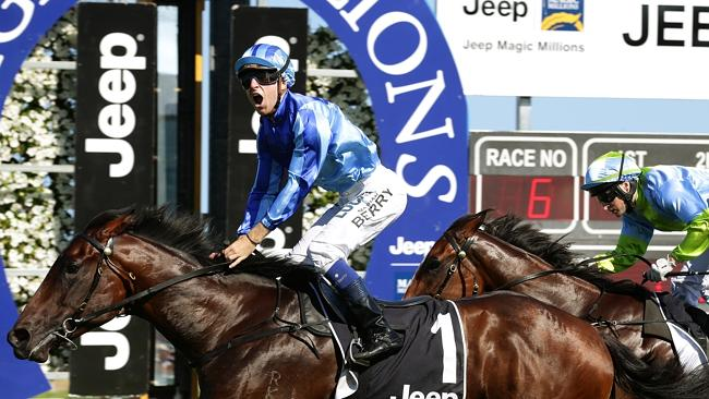 Jockey Nathan Berry rides no1 Unencumbered to the win in the Magic Millions 2YO Classic on the Gold Coast. Pics Adam Head
