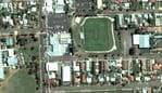Aerial view of Tamworth High School on Willis Street in Tamworth, NSW.