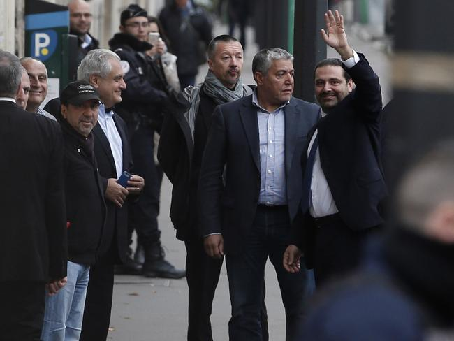 Lebanon's Prime Minister Saad Hariri waves to supporters as he arrives at his residence, in Paris, Saturday, Nov. 18, 2017. Picture: AP.