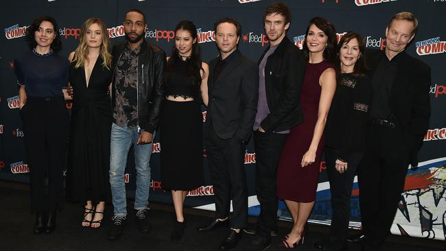 The Legion team at New York Comic Con in October (from left): actors Aubrey Plaza, Rachel Keller, Jeremie Harris and Amber Midthunder, series creator Noah Hawley, actors Dan Stevens and Katie Aselton, producer Lauren Shuler Donner and actor Bill Irwin. Picture: Theo Wargo/Getty Images
