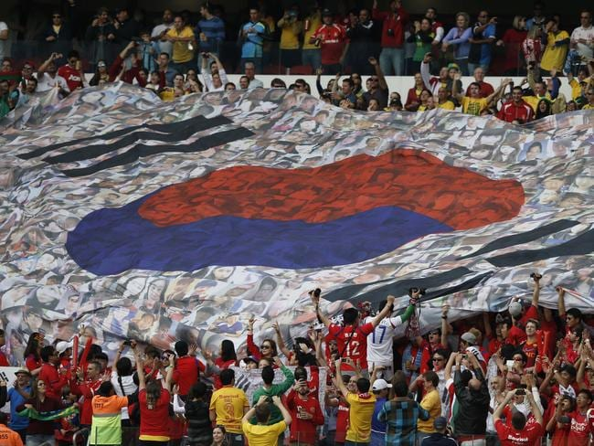 South Korea's fans hold a giant flag before the Group H football match between South Korea and Algeria.
