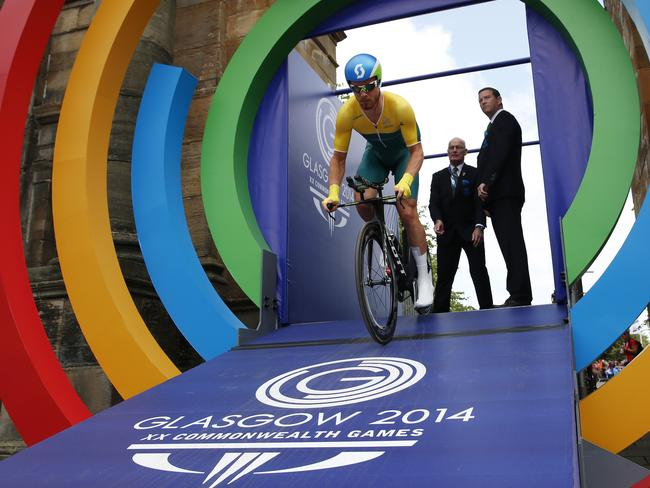 Australia's Michael Hepburn starts the Men's Cycling Individual Time Trial.