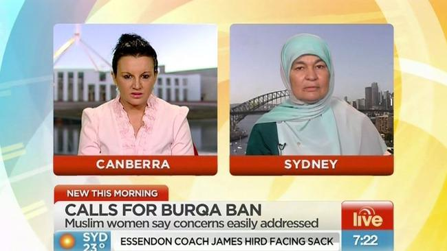 'You have beautiful faces and it would be nice to be able to see them,' Lambie told Muslim woman Maha Abdo on Sunrise this week.