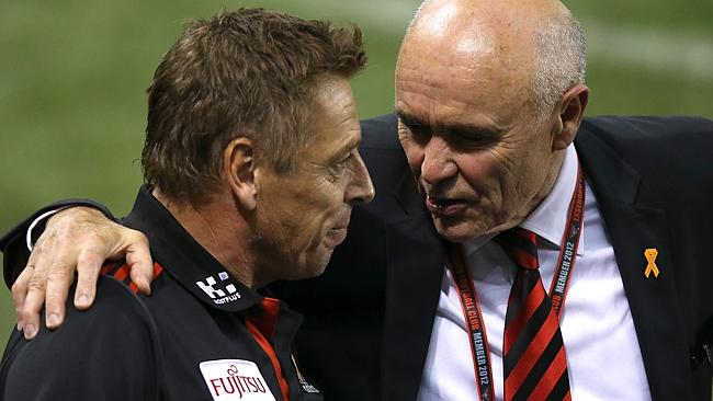 Essendon chairman Paul Little with coach Mark Thompson. Picture: Wayne Ludbey