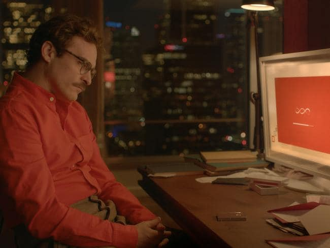 Joaquin Phoenix as Theodore in the romantic drama film Her, directed by Spike Jonze.