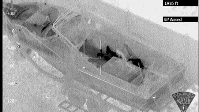 Massachusetts State Police have released this aerial image of Boston bombing suspect Dzhokhar Tsarnaev hiding in a boat.