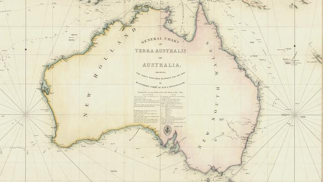 Map of Terra Australis from 1814-1822 created by English voyager Mathew Flinders.