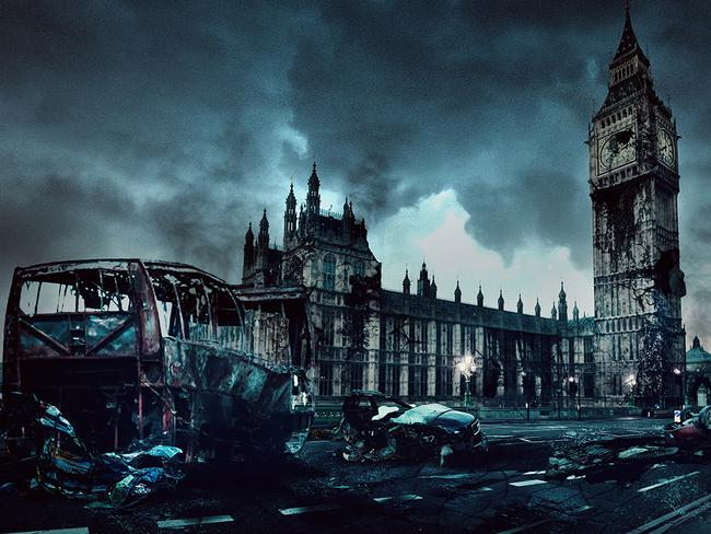 London's Big Ben and Houses of Parliament in ruins. Photo: DesignCrowd.com.au