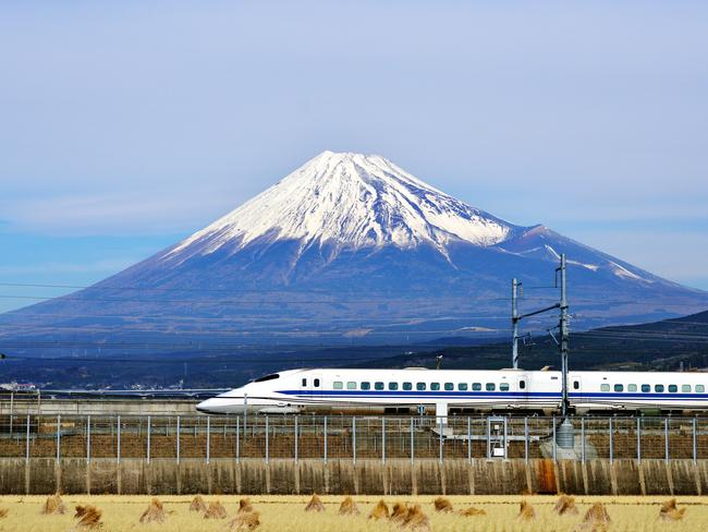 A model system … Japan's famous bullet train with Mt Fuji in the background.
