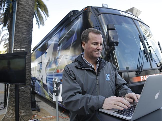 Fantex CEO Buck French works on a laptop during promotional stop in San Francisco. He's been travelling the country to promote the concept.