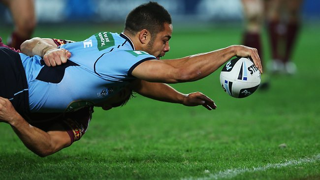 Jarryd Hayne reaches out to score the first try of the night. Picture: Phil Hillyard
