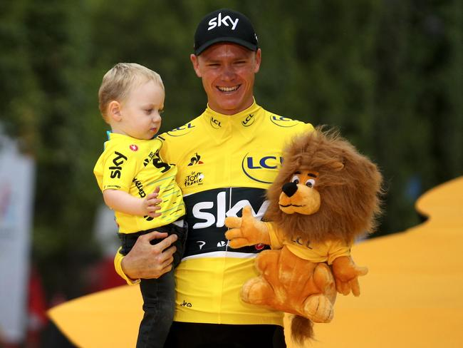 Chris Froome after winning the 2017 Tour de France. (Photo by Chris Graythen/Getty Images)
