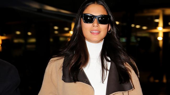 Model Jessica Gomes arrives in Sydney on a flight from LA. Picture: Jason Edwards
