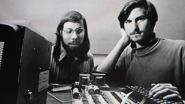 Apple Inc CEO Steve Jobs and Steve Wozniak (left) met in high school and founded Apple in 1976.