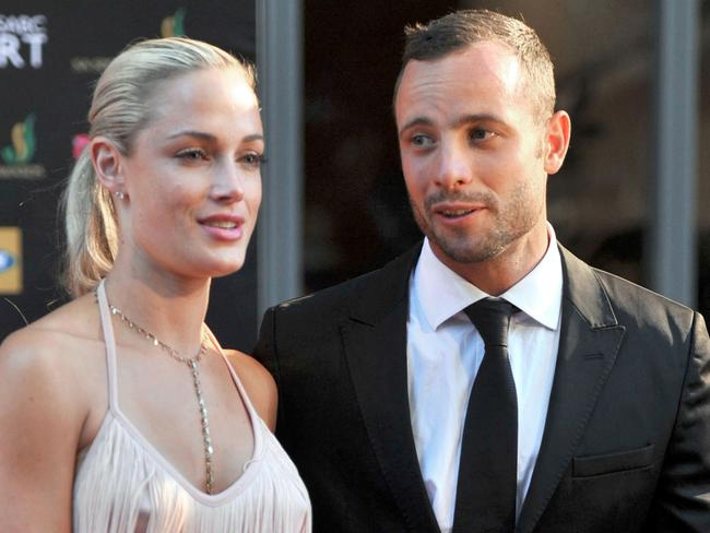 Oscar Pistorius with then girlfriend Reeva Steenkamp during the Feather Awards held at Melrose Arch in Johannesburg. Picture: AFP