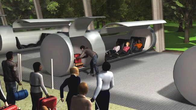 It uses airless vacuum tubes to transport passengers in car-sized capsules. Picture: ET3