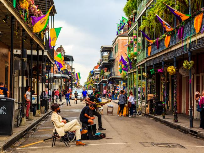 Street musicians are all over in the French Quarter's streets of New Orleans. It is one of the most artistic cities in the world.