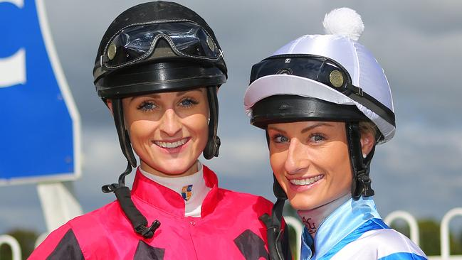 Priscilla Schmidt, right, will keep following her sister Cassie's riding career. Picture: Frank Redward
