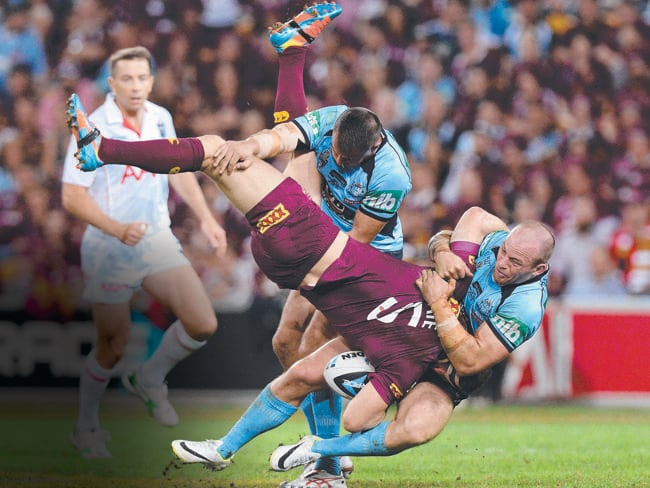 The Reynolds tackle from another angle. Beau Scott was the other Blues player involved.