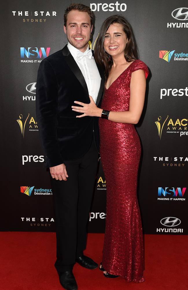 Andrew Steel and Heather Maltman arrive ahead of the 5th AACTA Awards Presented by Presto at The Star on December 9, 2015 in Sydney, Australia. Picture: AAP