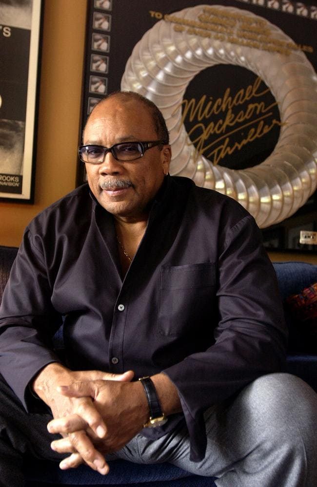 """Quincy Jones at his Bel Air home with a plaque celebrating 40 million sales of Michael Jackson's album  <span id=""""U633202697670DwE"""" style=""""font-weight:normal;font-style:italic;"""">Thriller</span>, which Jones produced. Picture: Supplied"""