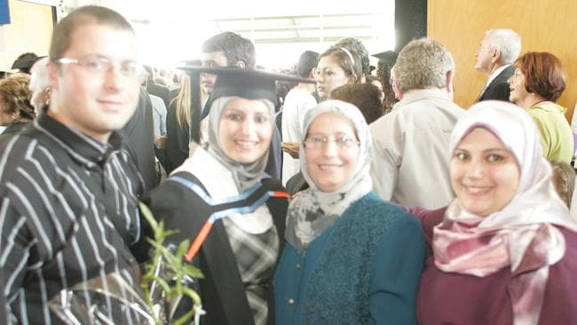 Mahassen Issa (second left) at her graduation ceremony in 2007 with her mother Nale, her sister Salma (right) and her estranged husband Bassen / Picture: Supplied