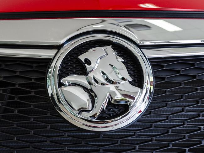 """Sydney, Australia - April 2, 2012: The Front Grill Badge of a new General Motors Holden HSV Commodore. Holden Ltd is a traditionally Australian automaker, based Melbourne, Victoria."""